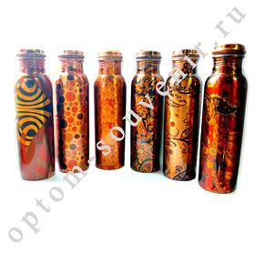 Аюрведическая медная бутылка, с рисунком, для обогащения воды, 1 л., Индия, оптом