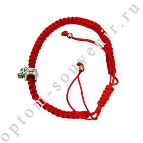 Браслет красная нить с подвеской СЛОН, набор 12 шт., оптом