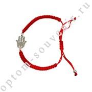 Браслет красная нить с подвеской ХАМСА, набор 12 шт., оптом