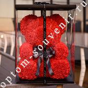 Мишки из роз, 40 см., оптом