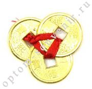 Талисман в кошелек ТРИ МОНЕТЫ - БОГАТСТВО И УСПЕХ, 4,3 см., оптом
