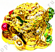 Статуэтка ЖАБА, имитация сусального золота, оптом